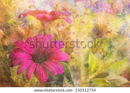 grunge artwork with purple flower and colorful watercolor strokes - stock photo
