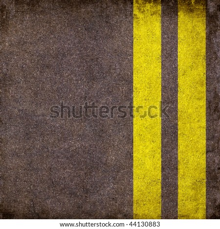 Grunge asphalt with two yellow lines - stock photo