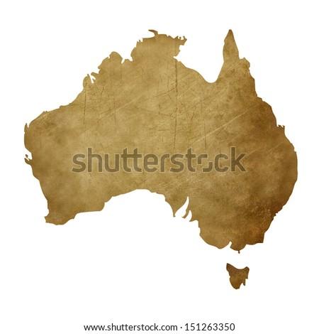 Grunge Australia map in treasure style isolated on white background. - stock photo
