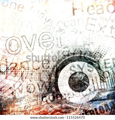 Grunge background, abstract music illustration - stock photo