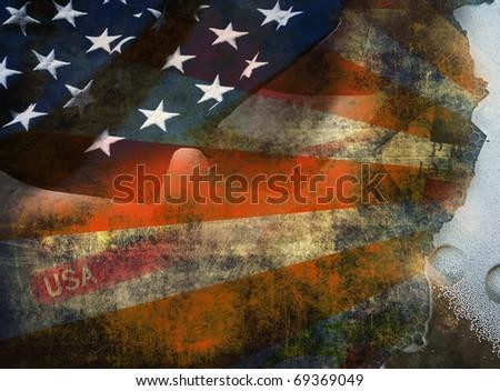 Grunge background, American flag - stock photo