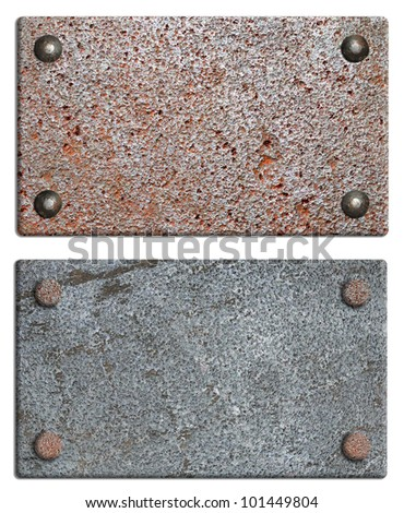 grunge background metal plate with screws - stock photo