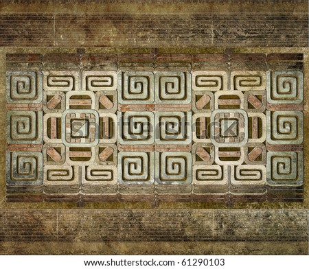 grunge background of american indian pattern - stock photo