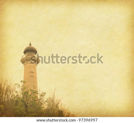 Grunge background of lighthouse - stock photo