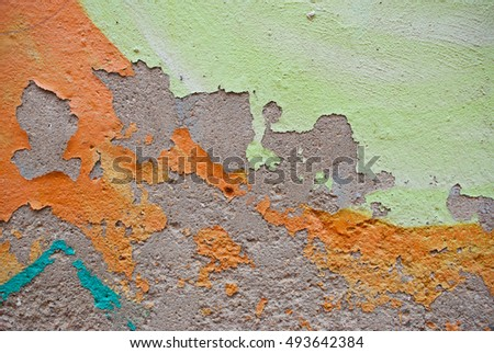 Grunge background of old  colorful wall with peeling paint. Abstract backdrop.