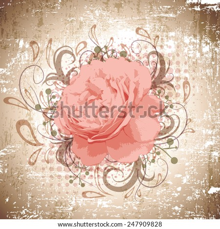 Grunge Background of Vintage Abstract Peony Flower With Floral Decoration  - stock photo