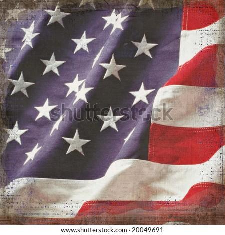 Grunge background on USA flag - stock photo