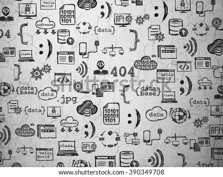 Grunge background:  wall texture with  Hand Drawn Programming Icons