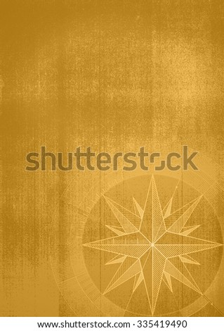 Grunge background with a wind rose in a draft style. Sepia pattern. - stock photo