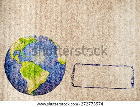 Grunge background with abstract world map printed on paper texture - stock photo