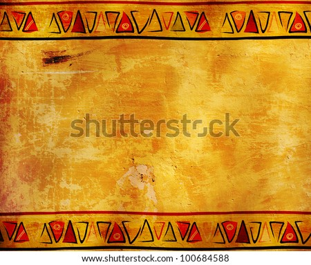 Grunge background with African traditional patterns - stock photo