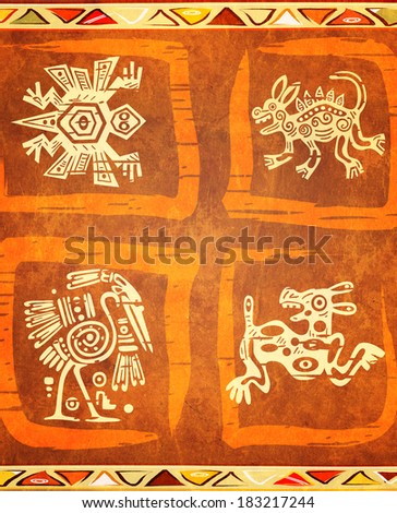 Grunge background with American Indian traditional patterns - stock photo