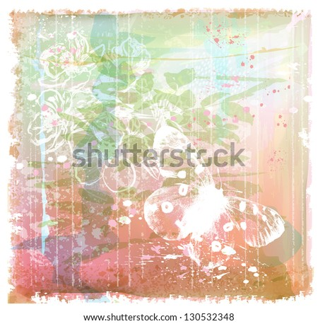 grunge background with butterfly and flowers - stock photo