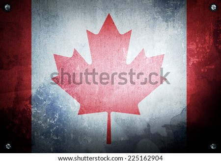grunge background with canada flag - stock photo