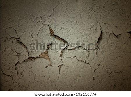 Grunge background with cracked stucco - stock photo