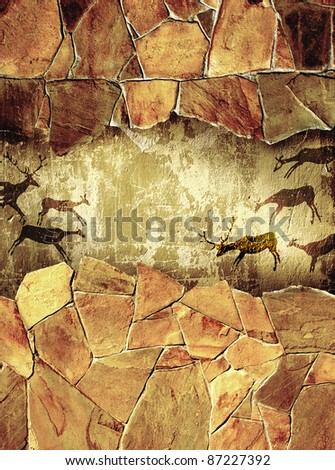 Grunge background with drawings of the primitive person