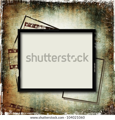 Grunge background with film frame - stock photo