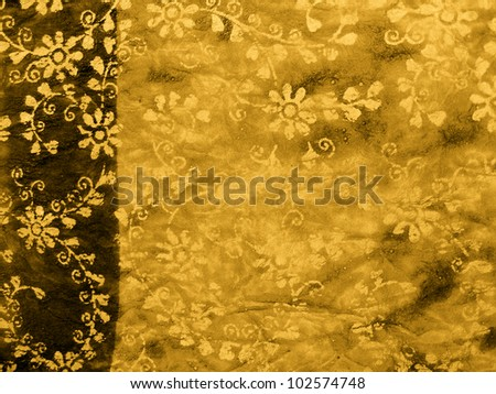 grunge background with floral pattern - stock photo