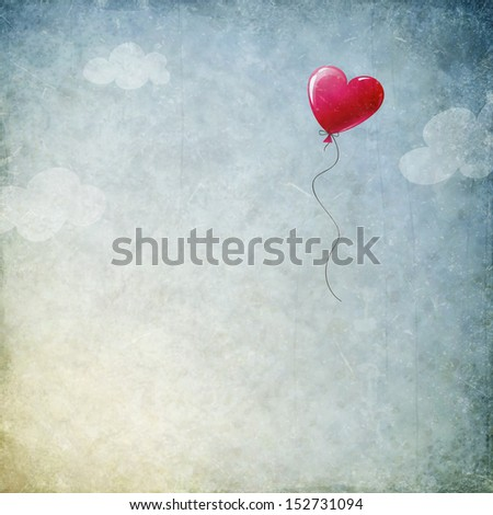 grunge background with heart balloon - stock photo