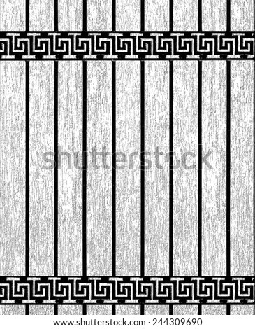grunge background with meander. Greek meander on the wall. - stock photo