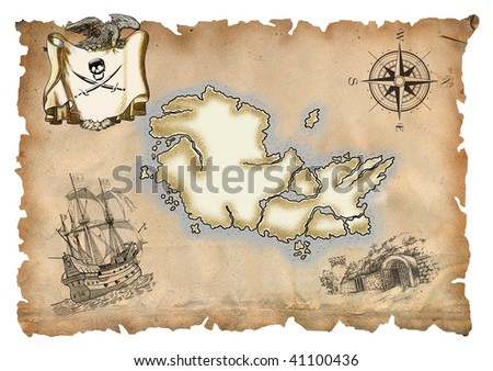 Grunge background with mysterious atmosphere of pirate treasures - stock photo