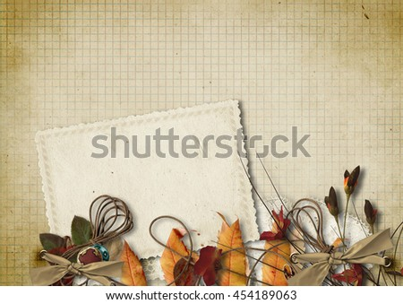 Grunge background with old card and flowers