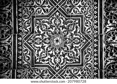Grunge background with oriental ornaments   - stock photo