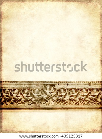 Grunge background with paper texture and carving with dancers of Preah Khan Temple, in famous landmark Angkor Wat complex, khmer culture, Siem Reap, Cambodia
