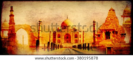 Grunge background with paper texture and landmarks of India - Taj Mahal, Qutub-Minar Tower, Lakshmana temple, Iron pillar, Amber Fort