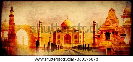Grunge background with paper texture and landmarks of India - Taj Mahal, Qutub-Minar Tower, Lakshmana temple, Iron pillar, Amber Fort  - stock photo