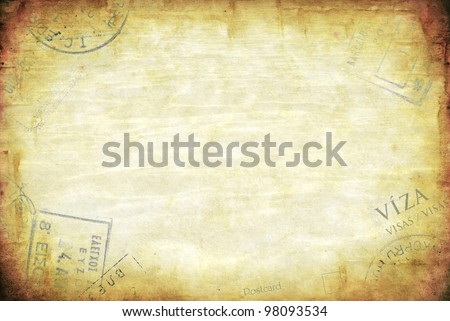 Grunge background, with passport visa stamps.  Lots of copy space. - stock photo