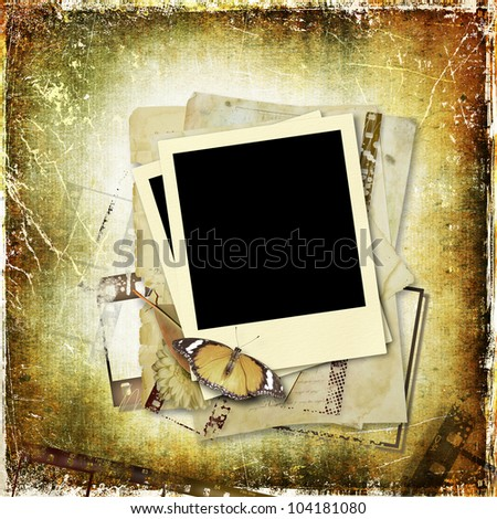 Grunge background with polaroid frame - stock photo