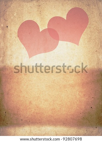 Grunge background with red hearts - stock photo