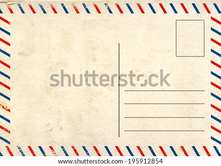 Grunge background with retro post card texture - stock photo