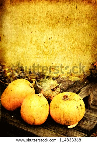 Grunge background with ripe pumpkins - stock photo