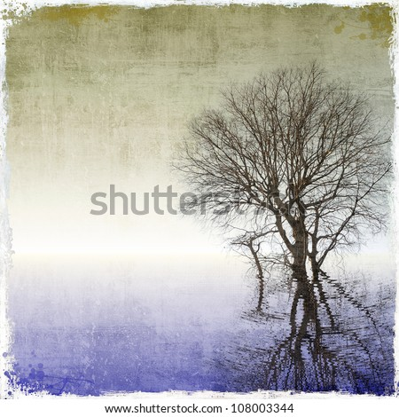 Grunge  background with tree reflected in water - stock photo