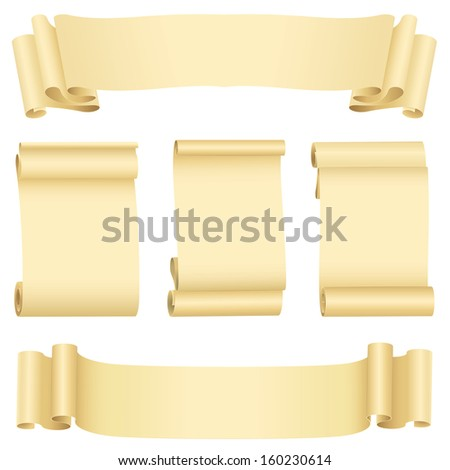 Grunge banners  and scrolls set  - stock photo