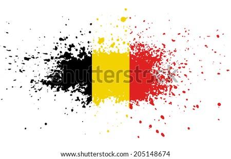 Grunge Belgian ink splattered flag - stock photo