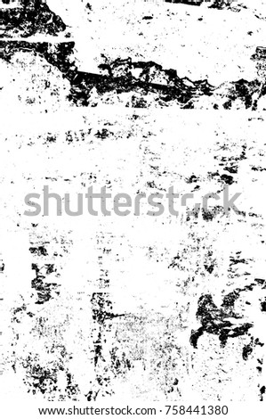 Grunge black and white seamless pattern. Monochrome abstract texture. Background of cracks, scuffs, chips, stains, ink spots, lines. Dark design background surface. Gray printing element