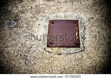 Grunge Blank Metal Plate - stock photo