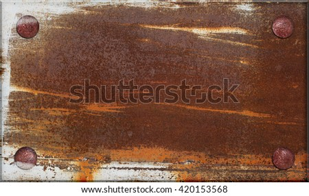 Grunge blank name board concept - old brass dirty rusted iron metal plate framed  nailed and stained by white color - stock photo