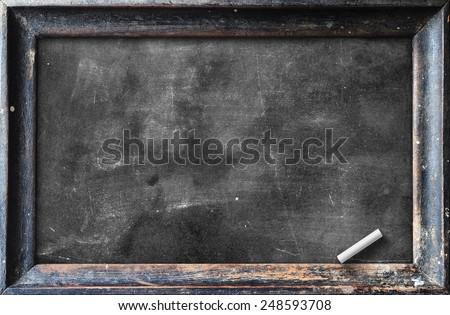 Grunge blank old wood blackboard or dirty slate board with white chalk. - stock photo