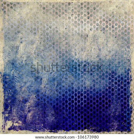 Grunge blue background with perforated metal plate - stock photo
