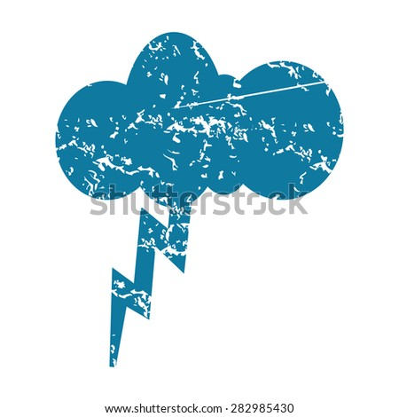 Grunge blue icon with image of cloud and lightning, isolated on white - stock photo