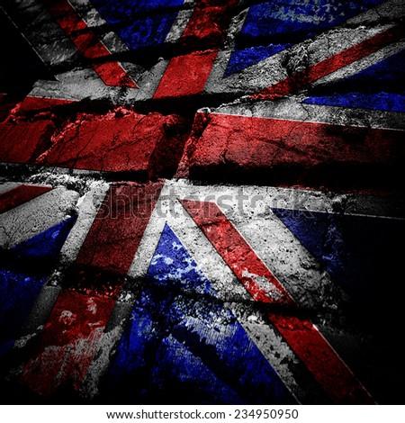 grunge brick of england flag - stock photo