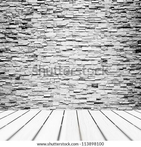 Grunge brick wall and floor - stock photo