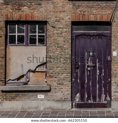 grunge brick wall  barred door and windows & Grunge Brick Wall Barred Door Windows Stock Photo (Safe to Use ...