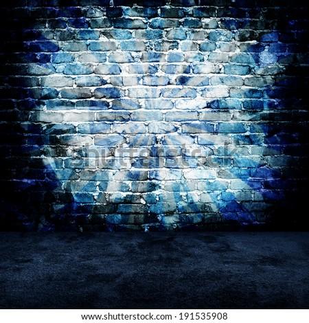 grunge brick wall with rays pattern - stock photo