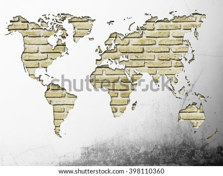 Grunge brick wall world map behind stock photo royalty free grunge brick wall world map behind grunge old concrete broken abstract background vintage old grunge gumiabroncs Images