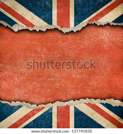 Grunge British flag on ripped paper with big empty space - stock photo